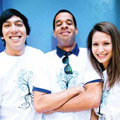 Student Volunteer Center leaders Chris Silva, director, Will Brotherson, and Brenda Beltran (photo by Carolyn Lagattuta)